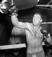 Rocky Marciano hitting speed bag